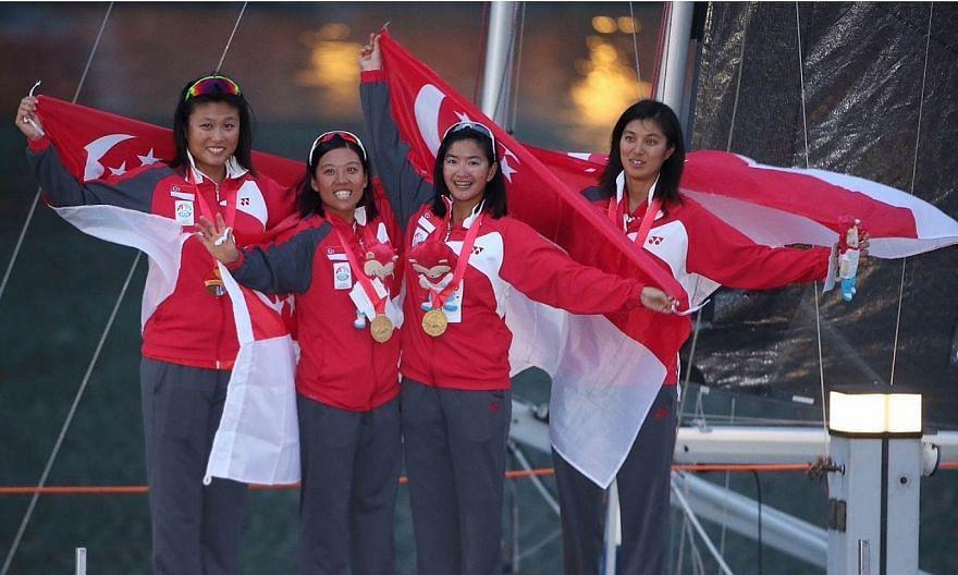 The quartet of Jovina Choo, Daniella Ng, Terena Lam and Dawn Liu won the women's keelboat event on June 14, 2015. -- ST PHOTO: NEO XIAOBIN