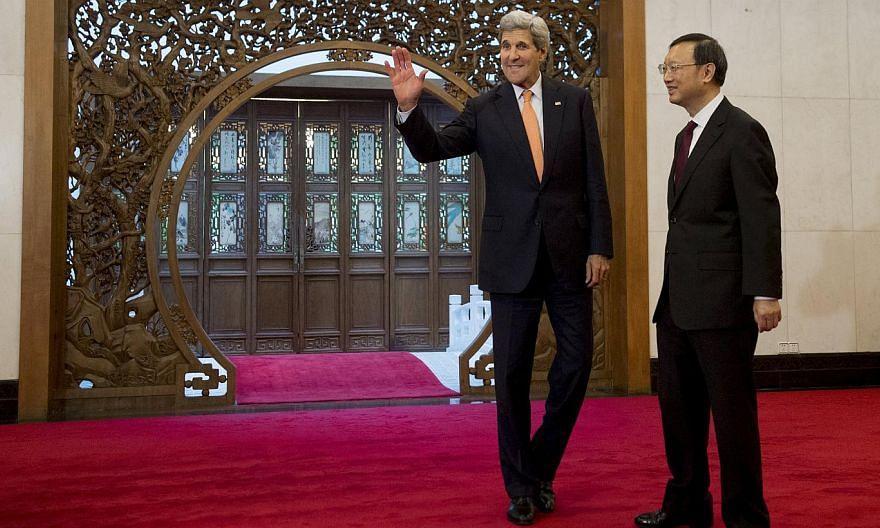 US Secretary of State John Kerry (left) is scheduled to receive China's State Councilor Yang Jiechi (right), a top foreign policy official, on June 23 and 24. -- PHOTO: REUTERS