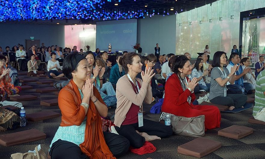 A mass meditation session held at Gardens by the Bay as part of the Wisdom 2.0 Asia activities. The conference, at the vanguard of the mindfulness movement in business and popular in the US, was held in Asia for the first time last week.