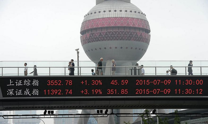 Shanghai and Shenzhen stock index movements on display near the Oriental Pearl Tower in Shanghai on Thursday. State intervention has helped prop up the two bourses, but the extreme measures taken have left foreign investors even more wary about enter