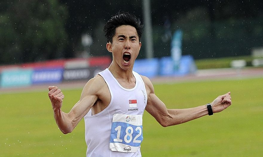 Singapore's Soh Rui Yong celebrating after winning the SEA Games marathon. He delivered an unexpected gold medal.