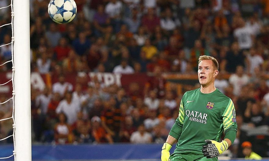 "Stranded Barcelona goalkeeper Marc-Andre ter Stegen has no answer to the dramatic equaliser by Roma's Alessandro Florenzi (above) during their Champions League match in Rome on Wednesday. ""I couldn't believe it went in,"" said Florenzi of his shot fro"