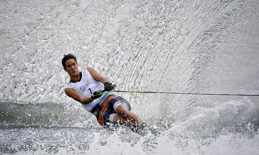 Mark Leong, 17, seen here in action at the SEA Games, rounded 1.5 buoys on an 11.25m rope at the Asian Championships yesterday. That beat his previous national mark of four buoys on a 12m line set in June.