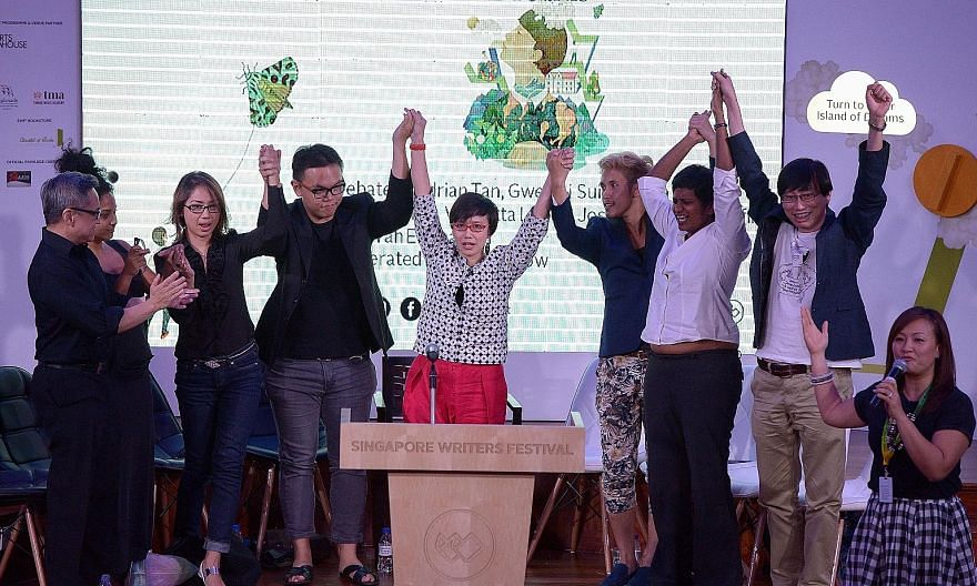 The closing debate of the Singapore Writers Festival featured (from far left) Adrian Tan, Deborah Emmanuel, Vernetta Lopez, Joshua Ip, Oniatta Effendi, Hirzi Zulkiflie, Shamini Flint and Gwee Li Sui as well as moderator/host Petrina Kow.