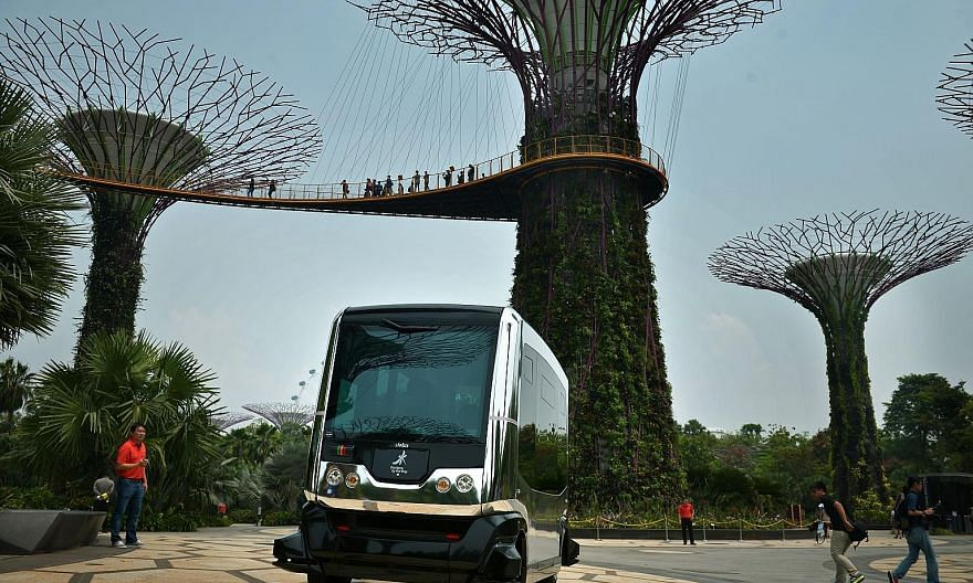 A demonstration on Oct 12 of how the Auto Rider autonomous vehicle will be operating at Gardens by the Bay. Volvo will launch a fleet of autonomous cars driving real customers on the roads of Gothenburg in Sweden by 2017.