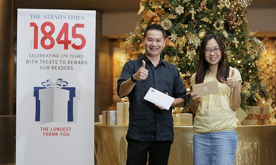 Mr Eber Tan won a semi-buffet lunch for six at European brasserie Ash & Elm in the ST170 Treats initiative, while Ms Wu Wan Ting won a dinner for four at Mandarin Orchard's Triple Three restaurant and a Christmas log cake.