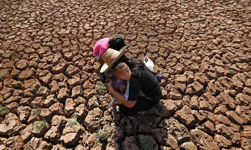"""A woman and her children searching for snails at a dried-out lake in Udon Thani province in north-east Thailand last week. Due to the strong El Nino influence, """"2016 is expected to be an exceptionally warm year"""", according to the director of Nasa's G"""