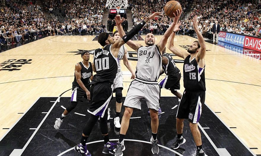 San Antonio Spurs shooting guard Manu Ginobili makes a lay-up during his comeback game against the Sacramento Kings. There is speculation the Argentinian will retire after this season, having won four championship rings with the Spurs.