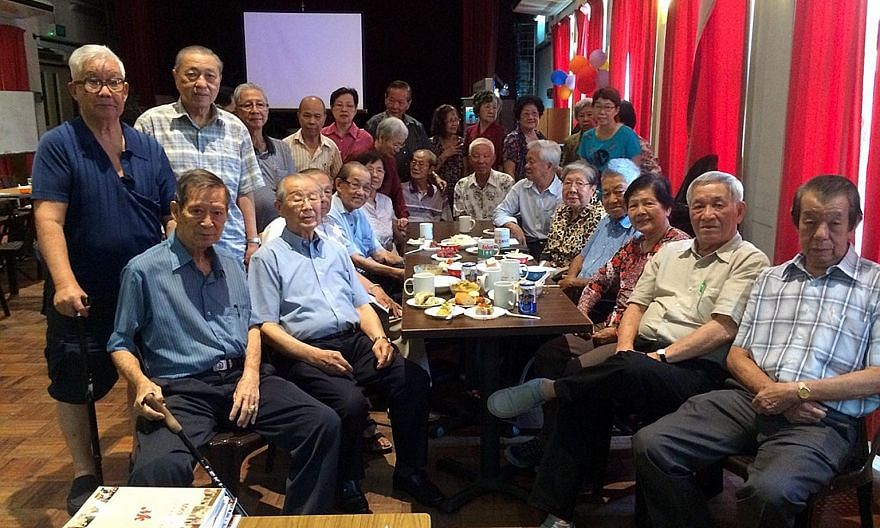 Mr Ong Pang Boon (seated, second from left) and other MK Club members at the club's anniversary gathering on March 20. They include (seated, from right) Mr Ng Puak Khoon, Mr Chang Weng Fai, current president Madam Hoe Puay Choo, Mr Chan Chee Seng, an