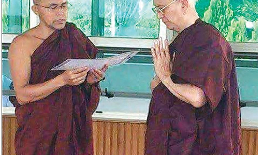 Former Myanmar president Thein Sein (right) is expected to lead a monastic life for five days.