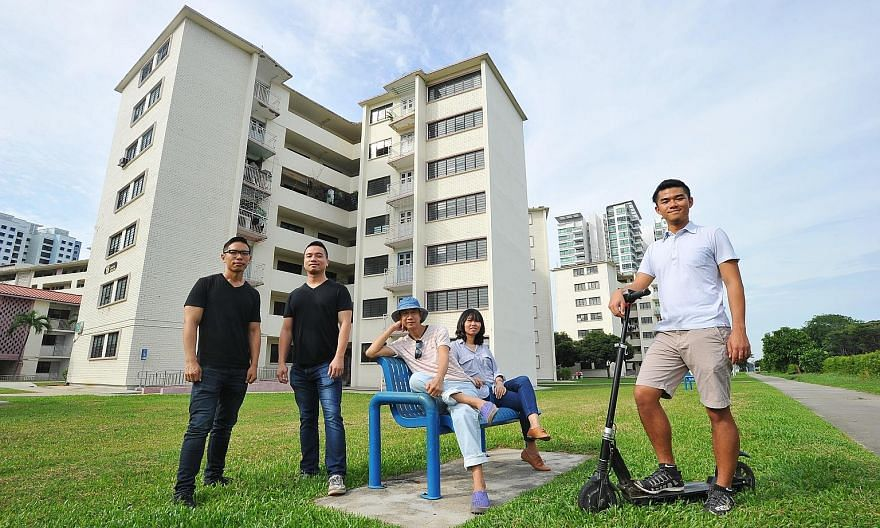 Fans of Dakota's heritage and charm: (from left) architects Jonathan Poh, 36; and Quck Zhong Yi, 36; Dakota resident and retiree Bilyy Koh, 61; Ms Tan Chiew Hong, 34, an architect; and Mr Cai Yinzhou, 26, founder of Dakota/Geylang Adventures.