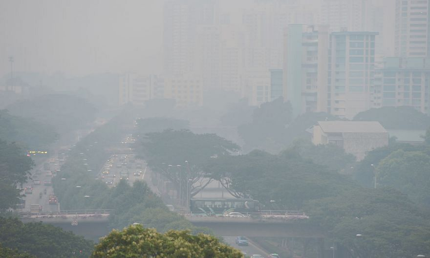The Jalan Toa Payoh stretch of the Pan-Island Expressway obscured by the haze in September last year.