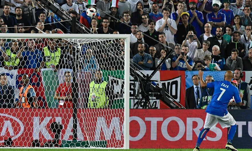 Simone Zaza blasting over from 12 yards against Germany. The Italy forward has since been widely ridiculed for his unorthodox run-up that seemed to put him off more than the German goalkeeper.