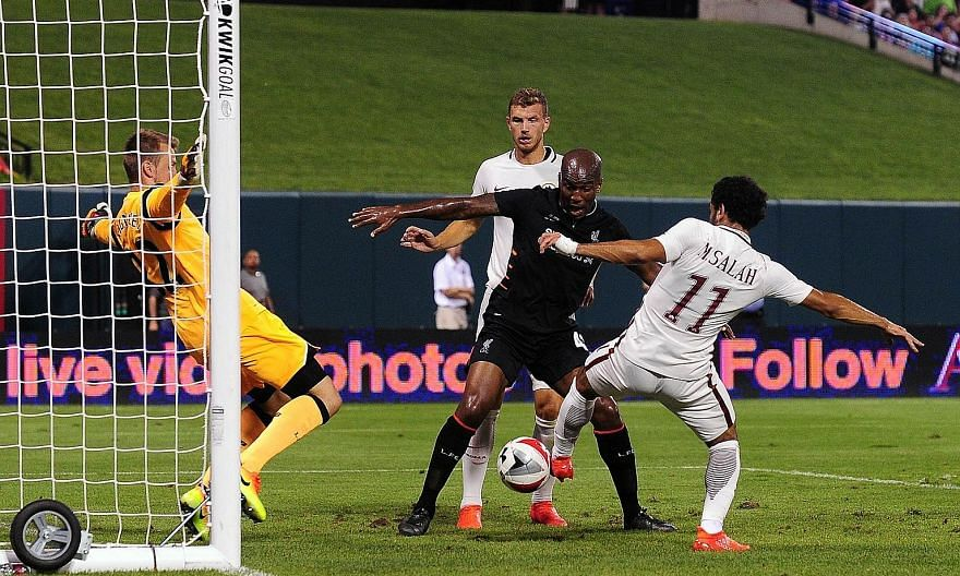 Mohamed Salah (No. 11) scoring the winning goal in the 2-1 victory against Liverpool during the friendly in St Louis, Missouri on Monday.