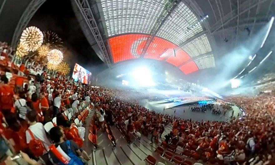 A screenshot of the NDP fireworks shot in 360-degrees.