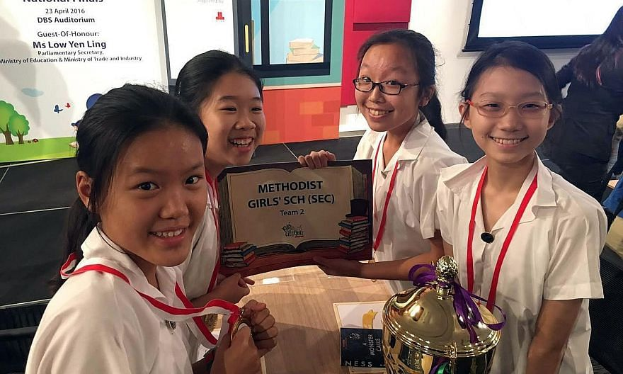 The winners from Methodist Girls' School (from left) Erin Chan, Hua Xuan Ying, Tricia Chee and Elizabeth Chua.