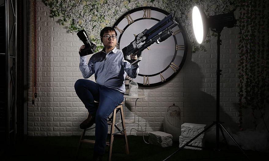 Photography studio Luminos owner Kwong Wai Keat provides studio backdrops based on popular anime series.