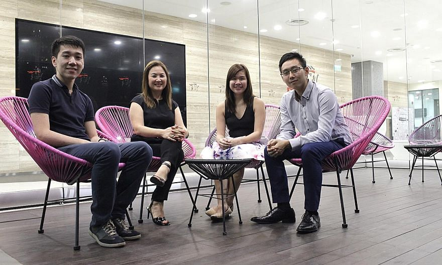 MentorsHub founder Candice Chee (second from left) with mentees (from left) Tan Chee Wee, 24, Tng Hui Min, 22, and Chau Pak Heen, 25. MentorsHub targets undergraduates aged between 21 and 25.
