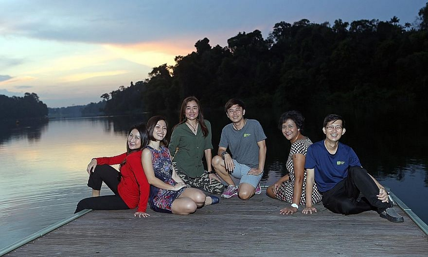 (From left) Volunteers Debra Teng; Jaclyn Yeo; Teresa Teo Guttensohn, 53, a protocol manager; Loh Choe Hwa, 34, an outdoor educator; Rani Singam and Tan Hang Chong at MacRitchie Reservoir Park. They are among those who have come together to spread aw