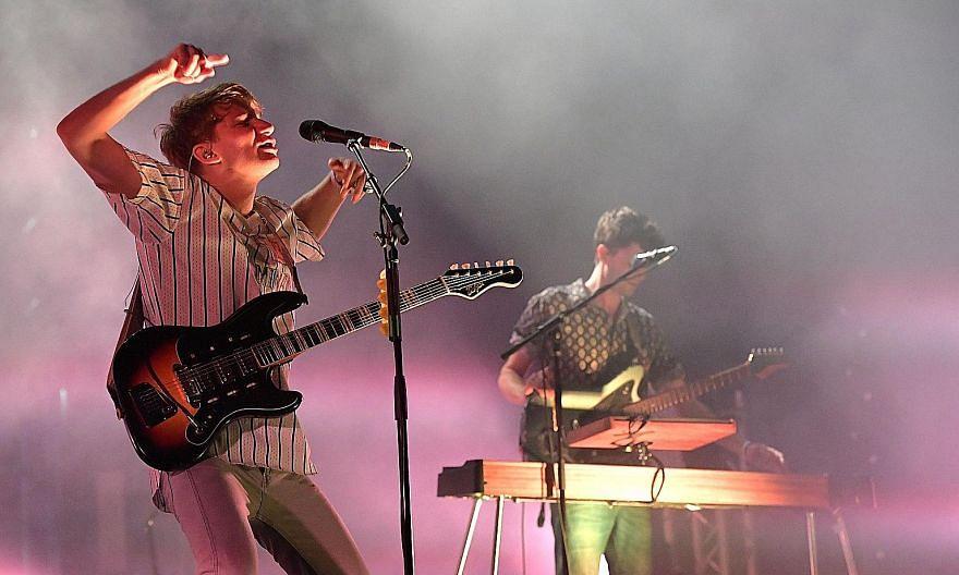 Oxford indie quartet Glass Animals' lead singer Dave Bayley (far left); and Chicago rapper Mick Jenkins.