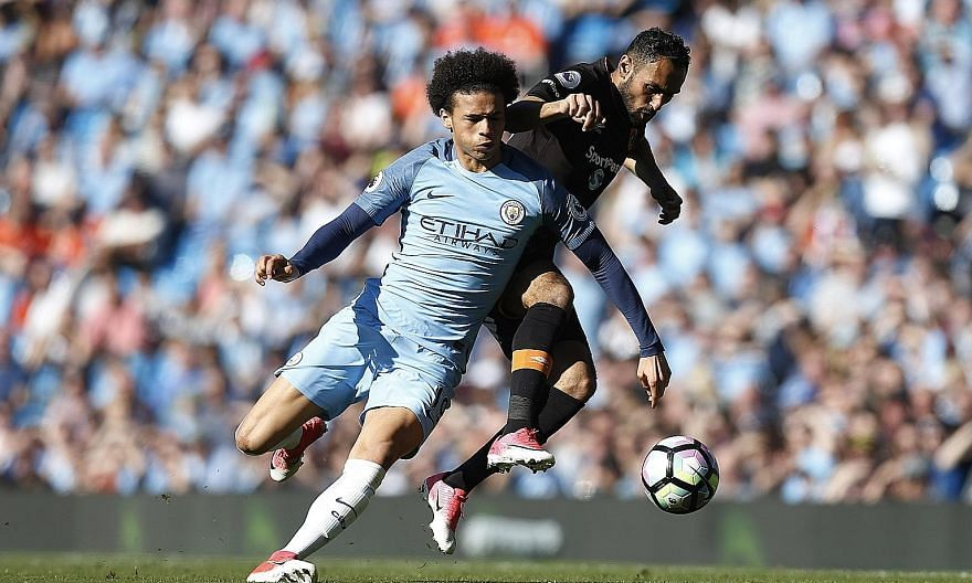 Leroy Sane holding off Hull's Ahmed Elmohamady during Manchester City's 3-1 home win on Saturday. He has settled well into the Premier League after a tough beginning when he moved from Schalke.