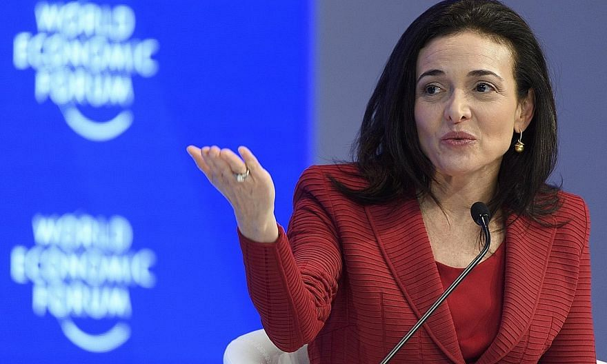 Facebook chief operating officer Sheryl Sandberg speaking at the World Economic Forum meeting in Davos, Switzerland, in January. She wrote her second book, Option B, with psychologist Adam Grant.