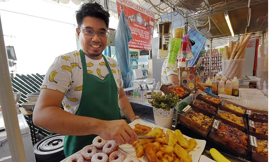Mr Hakeem runs O'Braim with his brother, sister and brother-in-law, selling banana fritters in several flavours to keep up with changing tastes.