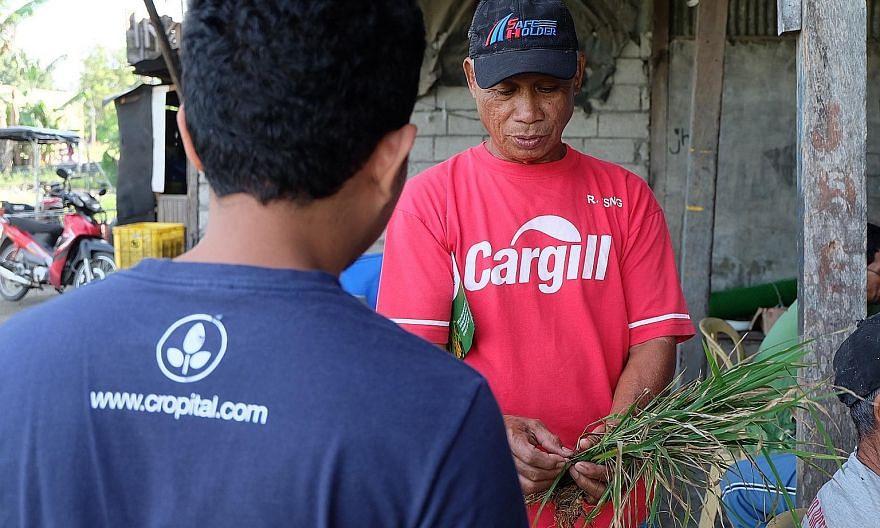 A farmer receiving training from the Cropital team.
