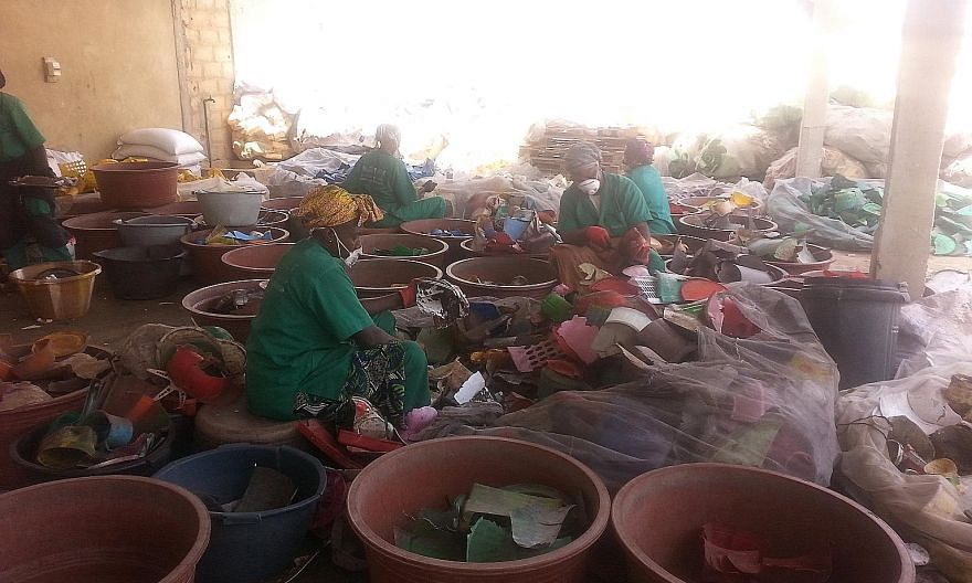 The sorting area at a Proplast centre in Senegal. The company, which employs more than 100 women, was able to prevent the emission of 273 tonnes of carbon dioxide into the air in just one year.