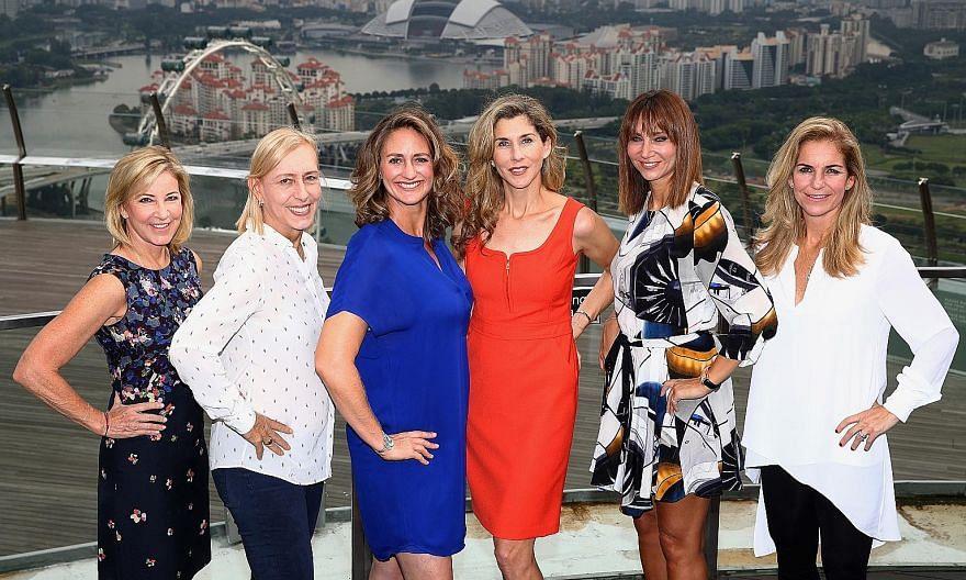 From left: WTA legend ambassadors Chris Evert, Martina Navratilova, Mary Pierce, Monica Seles, Iva Majoli and Arantxa Sanchez Vicario at the Marina Bay Sands.