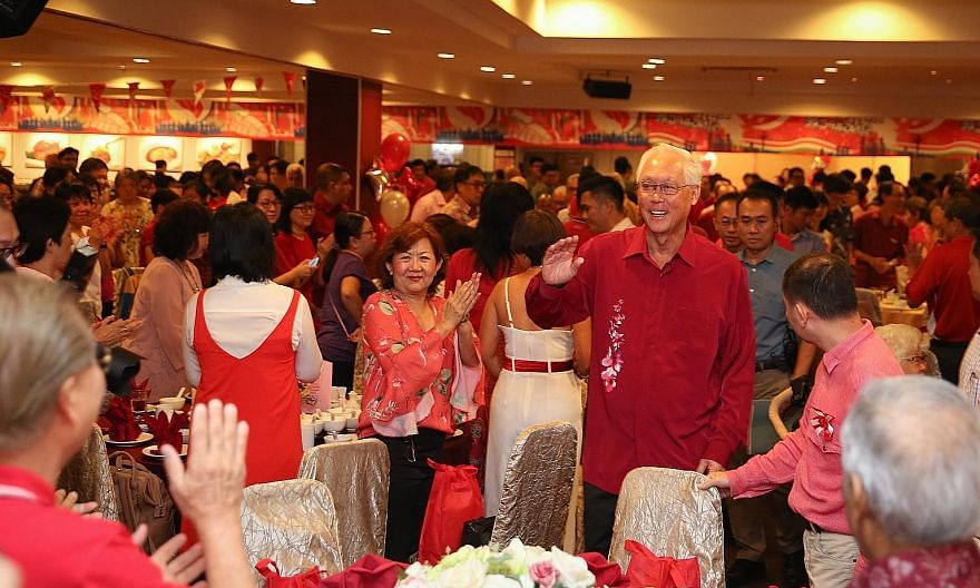 """Emeritus Senior Minister Goh Chok Tong at the National Day dinner in his Marine Parade ward yesterday. In his speech, Mr Goh said the Government has introduced """"Singapore-style innovations"""" to the Westminster parliamentary system over the years to st"""