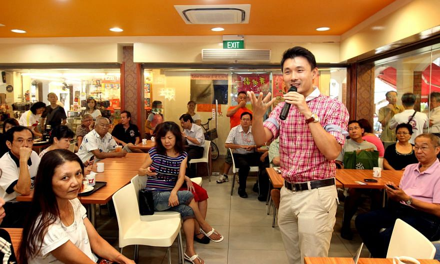 Tampines GRC MP Baey Yam Keng at his inaugural KopiTalk in 2011. He meets residents for coffee at the monthly local event where he discusses the latest policies with them. Online engagement does not replace offline engagement - the two are complement
