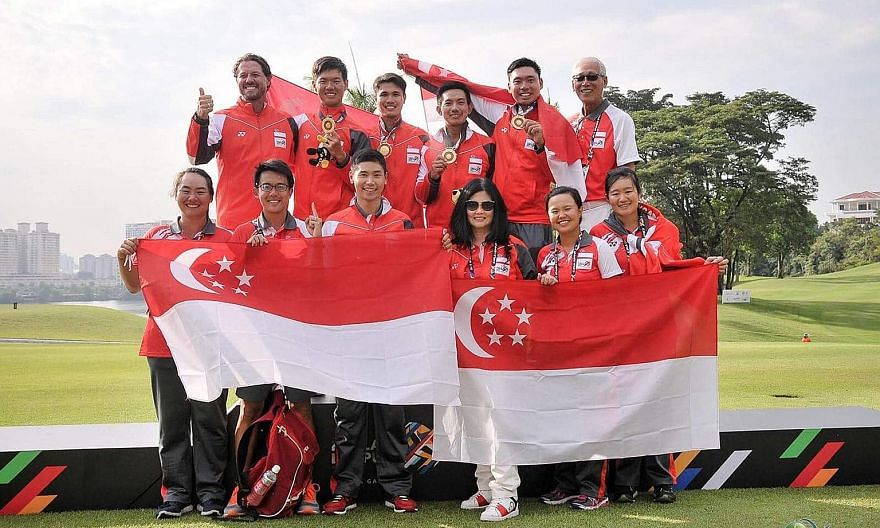 National golf coach Andrew Welsford (top left) and the Singapore team celebrating the men's historic performance at the Kuala Lumpur SEA Games.