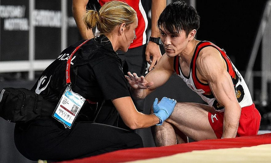 Kohei Uchimura competing on the vault on the opening day of the Artistic Gymnastics World Championships in Montreal, Canada on Monday. He was eliminated during qualifying after suffering an ankle injury. The Japanese gymnast has held the all-around t