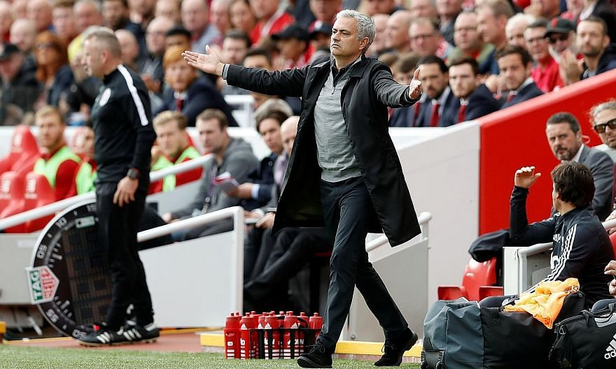 Manchester United manager Jose Mourinho reacting during the 0-0 draw with Liverpool last Saturday. He has indicated that he will not end his career at Old Trafford.