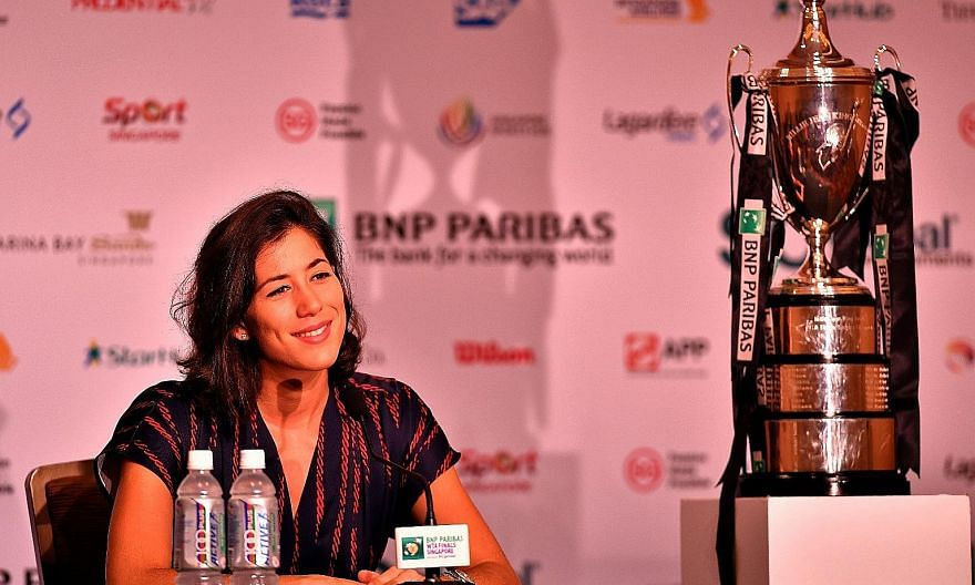 Garbine Muguruza speaking to the media ahead of the WTA Finals starting today. The Spaniard gave up bragging rights to Simona Halep two weeks ago but is not obsessed about recovering the position.