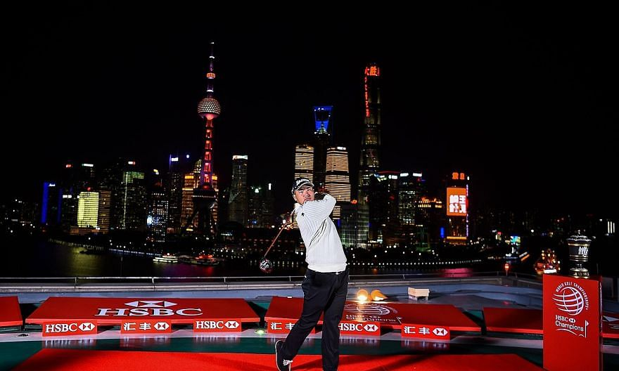 Japan's Hideki Matsuyama showing his driving stance during the launch of HSBC-World Golf Championships in Shanghai on Tuesday. The defending champion knows he has a target on his back this time round.