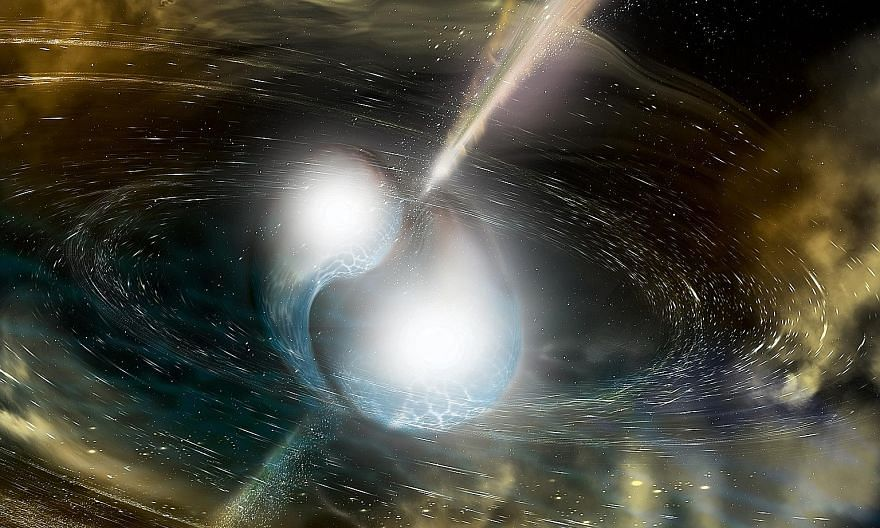 An artist's impression of two neutron stars colliding, a phenomenon which set the science world abuzz.