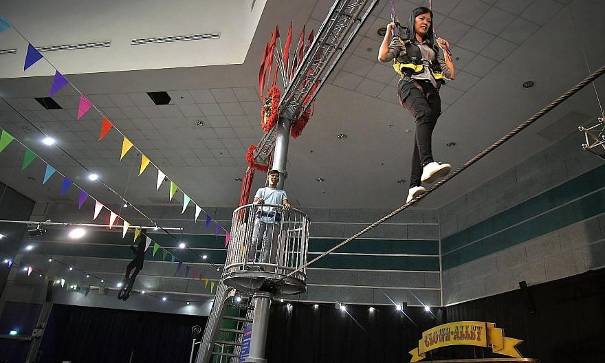 Anyone who has relished the thrill of walking on a high wire can get a feel for it at the Singapore Science Centre as it presents the Circus! Science Under The Big Top exhibition. At the High Wire exhibit, visitors are strapped into a harness as they