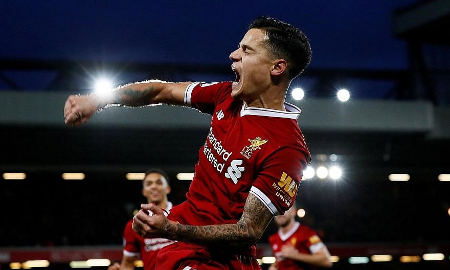 Liverpool's Philippe Coutinho celebrating his goal, his fifth in all competitions, against the Saints on Saturday. A win at Sevilla today will guarantee a last-16 Champions League spot.