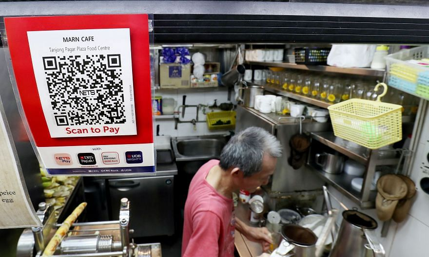 A drinks stall at Tanjong Pagar Plaza Food Centre with a QR payment code displayed.