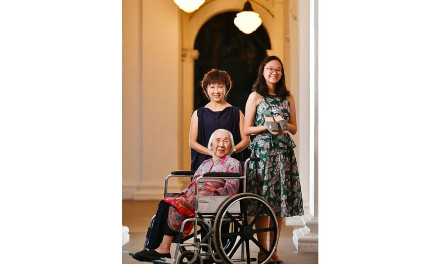 At the President's Challenge Appreciation Night held at the Istana yesterday were housewife Shirley Tan, 56; SJI International School student Melissa Yuen, 18; and Madam Goh Li Siang, 90, a resident at All Saints Home, one of the nursing homes where
