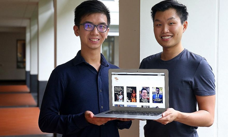 Yale-NUS students and Youth-In-Form founders Daniel Ng (left) and Cephas Tan hope to connect students with alumni who can advise them on higher education and career options.