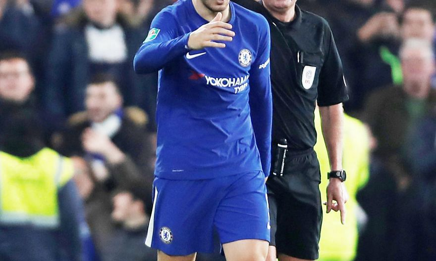 Referee Lee Mason showing Alvaro Morata the yellow card for kicking the ball away as Bournemouth attempted to restart the game quickly, after the Chelsea striker's stoppage-time goal in the Blues' 2-1 League Cup win in midweek.