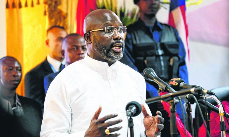Former World Player of the Year George Weah speaking during the certification ceremony, as the President-elect of Liberia on Thursday.