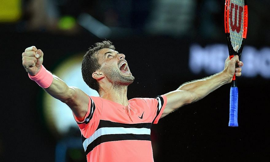 Grigor Dimitrov of Bulgaria is ecstatic after winning his fourth-round match against Australian Nick Kyrgios.