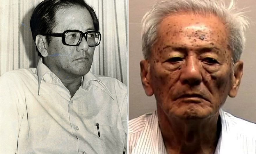 Above: Then NTUC chairman Phey Yew Kok in 1979. He fled abroad after being charged that year and remained a fugitive until 2015. Left: Phey, now 83, was sentenced in 2016 to 60 months in jail for his offences.