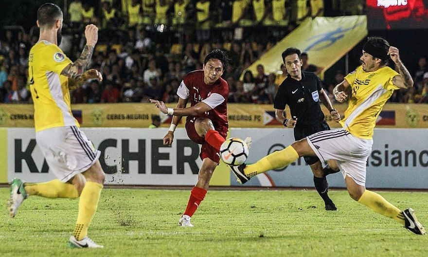 Home United's Shahril Ishak taking a shot. He set up the equaliser when his header off Izzdin Shafiq's corner came off the bar and Isaka Cernak tucked in the loose ball.