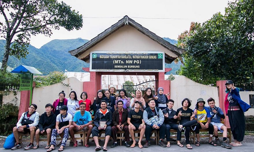 Ngee Ann Polytechnic students visited the Sembalun Bumbung village in Lombok last year help build a kindergarten. Students and staff are now raising funds to help villagers in the areas hit by earthquakes.