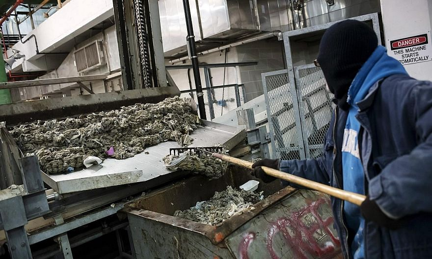 Wipes and other debris being raked into a bin for disposal at a New York wastewater treatment plant. When in doubt, follow a simple rule: If it is not human waste or toilet paper, it should not be disposed of in the toilet, says an official at the Na